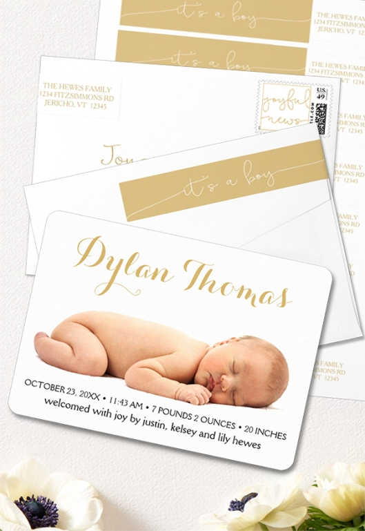 Simple Elegance Birth Announcement It's a Boy Wrap Around Return Address Labels