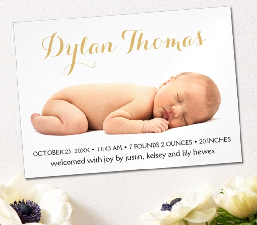 Simple Elegance Custom Photo Magnetic Birth Announcement Magnet