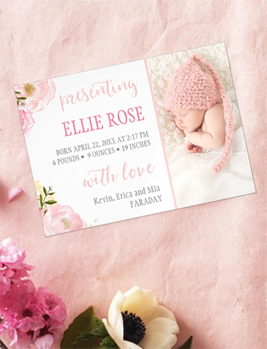 Watercolor Roses Pink Magnetic Photo Birth Announcement Magnet Cards